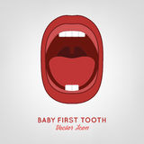 Baby First Teeth. Vector illustration in pink and red colours on a light grey background. Medical and healthcare concept Stock Photography