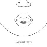 Baby first tooth. First tooth creative design. Vector illustration in grey colours on a white background. Medicine, healthcare and childhood concept Royalty Free Stock Photography