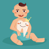 Baby with first tooth. Tooth with a crown. Flyer illustration for children dentistry. Cartoon style. Boy Stock Image