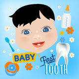 Baby First Tooth. Editable vector illustration. Cute baby boy face with first teeth on a light blue background. Tooth eruption concept with  European baby Stock Photos