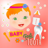 Baby First Tooth. Editable vector illustration. Cute baby girl face with first teeth on a light pink background. Tooth eruption concept with  European baby Stock Image