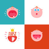 Baby First tooth expressions. Baby First tooth Vector Illustration with kids expression set.  Crying and laughing baby with first tooth. Children Tooth greetings Royalty Free Stock Images
