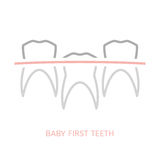 Baby first tooth. Icon. Vector illustration in pink and grey colours isolated on a white background. Medicine, healthcare and childhood concept Royalty Free Stock Photo