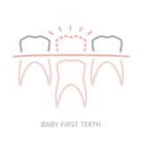 Baby first tooth. Icon. Vector illustration in pink and grey colours isolated on a white background. Medicine, healthcareand and childhood concept Royalty Free Stock Photo