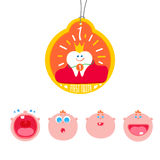 Baby First tooth Vector medal. Baby First tooth Vector Illustration with kids expression set.  Crying and laughing baby with first tooth. Children Tooth Royalty Free Stock Photos