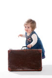 Baby and five dollars Royalty Free Stock Images