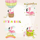 Baby Flamingo Set - Baby Shower or Arrival Card Royalty Free Stock Photos