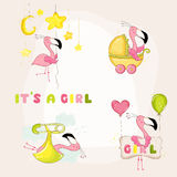 Baby Flamingo Set - Baby Shower or Arrival Card Stock Photography
