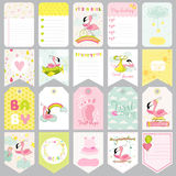 Baby Flamingo Tags. Baby Banners. Scrapbook Labels. Cute Cards Stock Photo