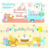 Baby Flat Banner Set. Two horizontal baby flat banner set with description of nursery room and first birthday party for child vector illustration Royalty Free Stock Photography