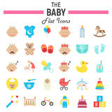 Baby flat icon set, kid symbols collection Stock Photography