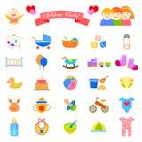 Baby Flat Icons Set Stock Photography