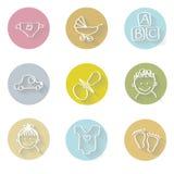 Baby flat icons set. Graphic illustration design Stock Photos