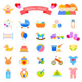 Baby flat icons set Stock Photography