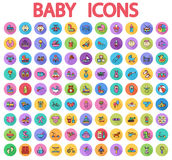 Baby flat vector icon set Royalty Free Stock Images