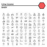 Baby flat vector icon set Stock Image