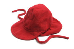 Baby Fleece Bonnet. On White Background Royalty Free Stock Photos