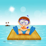 Baby on floating raft. Illustration of baby on floating raft Royalty Free Stock Photo