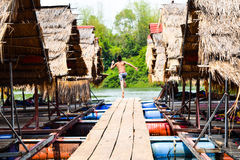 baby and floating restaurant Royalty Free Stock Photos