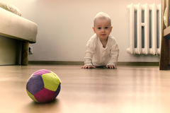 Baby on the floor. Is going to crawl towards the ball Stock Image