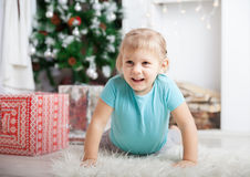 Baby on   floor during    New Year's Day Stock Image