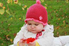 Baby with flower. Baby girl outdoors with autumn flower stock photos