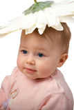 Baby with flower hat Stock Image