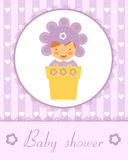 Baby in flower pot card Stock Photos