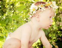Baby  in a flower wreath Royalty Free Stock Photo