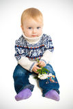 Baby with flowers. Portrait of a baby with flowers on a white background Royalty Free Stock Photography