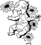 Baby With Flowers Royalty Free Stock Photos