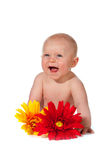 Baby with flowers Stock Photography