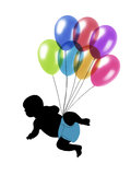 Baby flying on balloons. Black silhouette of a baby flying on colorful balloons Vector Illustration