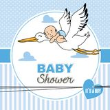 Baby flying on top of a stork. Baby shower card.baby boy flying on top of a stork Stock Photography