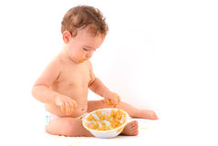 Baby and Food Royalty Free Stock Image