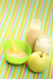 Baby food. Bottle of juice and jar of porridge - baby food Stock Photo