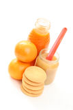 Baby food. Bottle of juice and jar of apple - baby food Stock Image