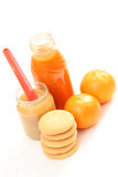 Baby food. Bottle of juice and jar of apple - baby food Royalty Free Stock Photography