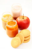 Baby food. Jar of different food and some cookies - baby food Royalty Free Stock Image