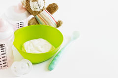 Baby food. Accessories for baby feeding and toys. selective focus Stock Photo