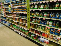 Baby food aisle stock images
