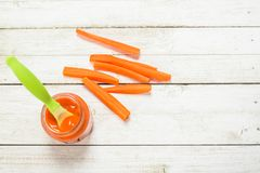 Baby food. Baby puree from fresh carrots with a spoon. royalty free stock images