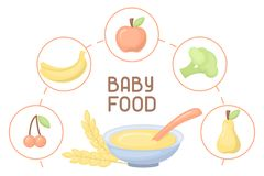 Baby food card. Flatr style vector illustration. There is place for your text vector illustration