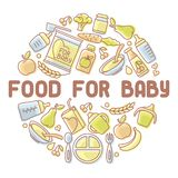 Baby food card royalty free illustration