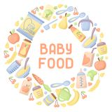 Baby food card. Flatr style vector illustration. There is place for your text royalty free illustration