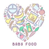 Baby food card. Linear style vector illustration. Suitable for advertising royalty free illustration