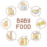 Baby food card. Linear style vector illustration. Suitable for advertising stock illustration