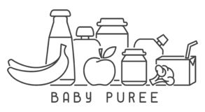 Baby food card with meal elements and baby bottles. Linear style vector illustration. Suitable for advertising vector illustration