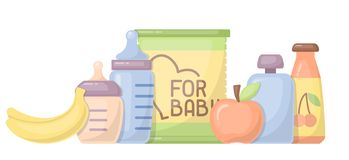 Baby food card with meal elements and baby bottles. Flat style vector illustration. Suitable for advertising royalty free illustration