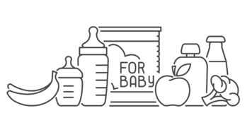 Baby food card with meal elements and baby bottles. Linear style vector illustration. Suitable for advertising stock illustration